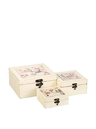 Romantic Style Set Caja de Almacenamiento 3 Uds. Birds Crudo
