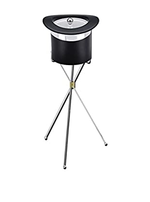 Kraftware Top Hat Ice Bucket with Stand, Black/Chrome, 3-Qt.