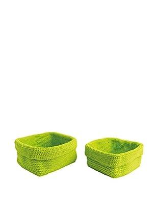 Aufbewahrungskorb 2er Set grün