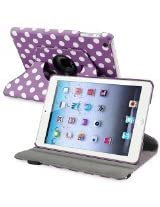 eForCity 360-Degree Swivel Leather Case for Apple iPad mini, Purple/White Polka Dot (PAPPIPDMLC59)