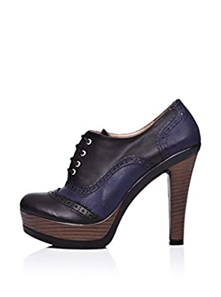 Ziya Zapatos Abotinados Tacón Medio (Azul Marino / Negro)