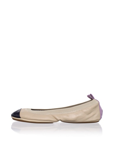 Yosi Samra Women's Colorblock Ballet Flat (Nude/Violet/Navy)