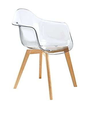 LO+DEMODA Set Silla 2 Uds. Wooden Arms Transparente