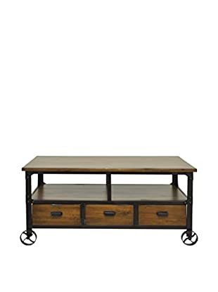 Three Hands Wood Rolling Console Table, Brown