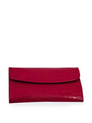 Bey-Berk Red Croco Leather Multi-Compartment Jewelry Clutch