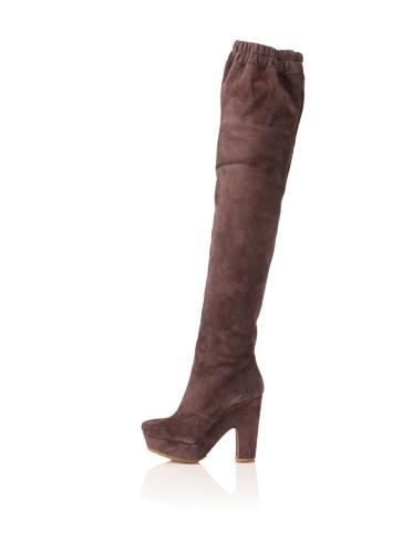 Pura Lopez Women's Over-The-Knee Platform Boot (Brown)