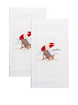 Henry Handwork Set of 2 Beach Chair Embroidered Hand Towels, White