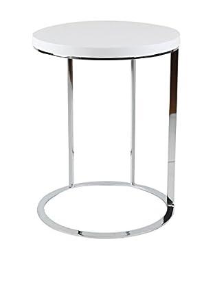 Whiteline Julia Side Table, White/Silver