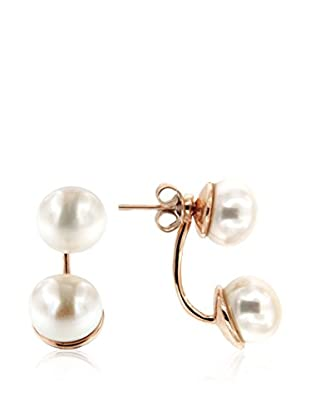 Perlaviva Pendientes Double Button Pearls Dangle plata de ley 925 milésimas / Blanco
