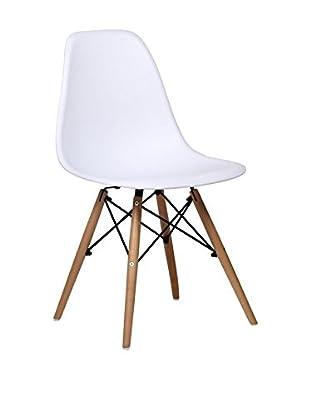 Lo+deModa Set Silla 2 Uds. Wooden Blanco