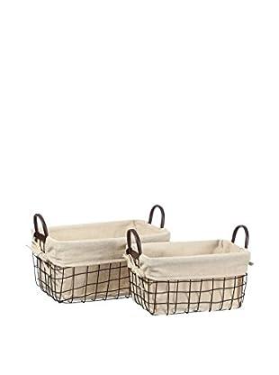 RETRO HOME Set Cesta Porta Utensilios 2 Uds. Laundry Crema