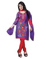 7 Colors Lifestyle Purple Coloured Cotton Unstitched Churidar Material - ADEDR2214KI12