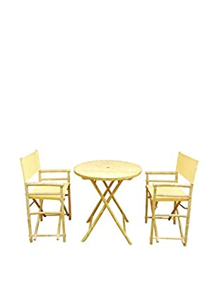 ZEW, Inc. Round Table & Director Chair Set, Nude