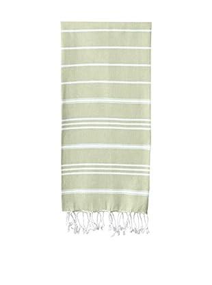 Nine Space Stripe Turkish Fouta Hand Towel, Green