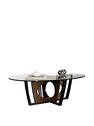 Armen Living Decca Oval Glass-Top Coffee Table, Espresso