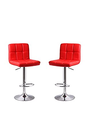 Manhattan Comfort Paladino Set of 2 Barstools, Red
