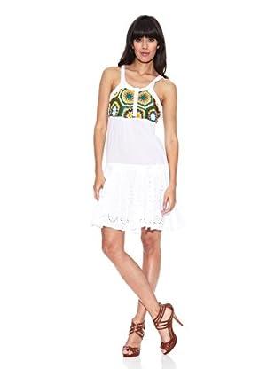Desigual Vestido Ganchillo (Blanco)