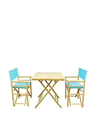 ZEW, Inc. Square Table & Director Chair Set, Aqua
