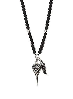 Stephen Oliver Matte Onyx Beads & Eagle Charm Necklace