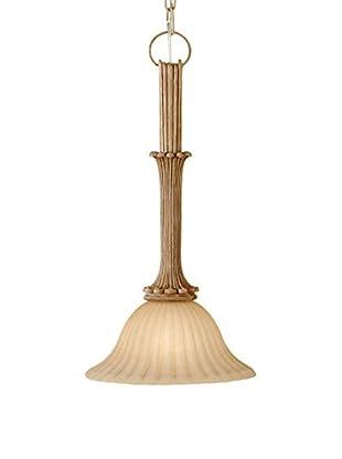 Feiss 1-Light Mini Pendant, Medium Aged Wood