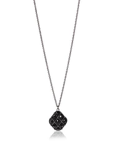 Tuleste Market Tufted Pendant Necklace, Gunmetal/Black