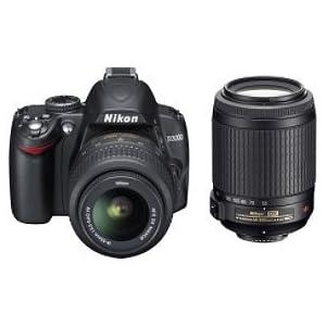 Nikon D3000 10MP Digital SLR Camera with 18-55mm f/3.5-5.6G & 55-200 AF-S DX VR Nikkor Zoom Lenses
