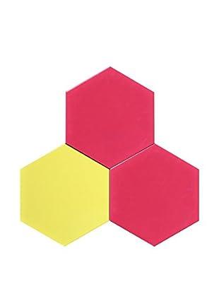 Nine6 Design Set of 3 Magnetic Dry Erasable Wall Panels, Magenta/Yellow/Magenta