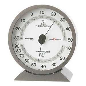 EMPEX (エンペックス) 温・湿度計 スーパーEX高品質温・湿度計 卓上用 EX-2717 メタリックグレー