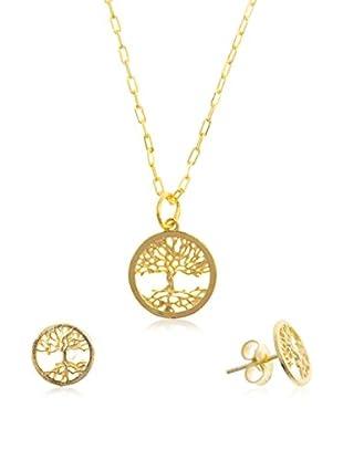 Córdoba Joyeros Set Kette, Anhänger und Ohrringe  vergoldetes Silber 925