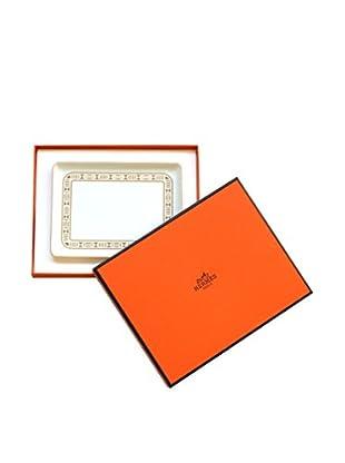 Hermès Geometric Border Ashtray/Vide Poche, White/Gold/Maroon