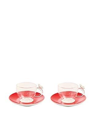 VILLA D'ESTE HOME Kaffeetasse mit Untertasse 2er Set Jasmine rot/transparent