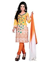 7 Colors Lifestyle Orange Coloured Cotton Unstitched Churidar Material - ADXDR2009HYBY