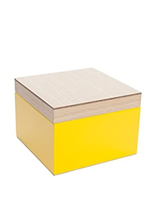 Wolf Designs Small Lacquer Wood Jewelry Box, Yellow