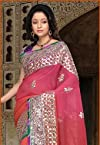 Peach and Pink Pure Georgette Saree With Blouse