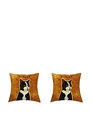 LITTLE FRIENDS by MANIFATTURE COTONIERE Kissenbezug 2er Set Tuxedo Cat