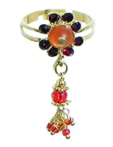DollsofIndia Saffron and Maroon Stone Studdd Adjustable Ring with Beaded Jhalar - Stone and Metal - Saffron