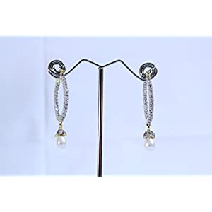 eNV Diamonds with pearl drops earrings