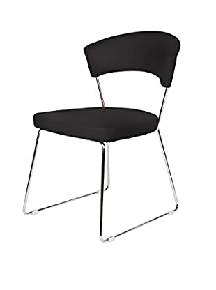Furniture Contempo Set of 2 Rosy Dining Chairs, Black/Chrome