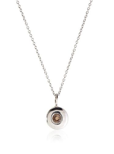 Catherine Angiel Silver & Smokey Topaz Donut Necklace