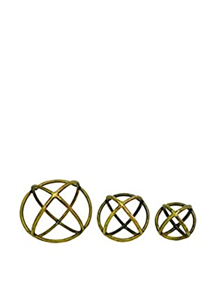 Couture Set of 3 Antique Brass Orbs, Antique Brass