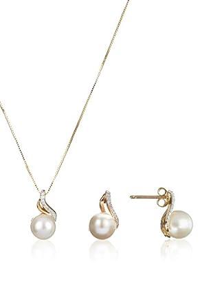 United Pearl Conjunto de cadena y pendientes  Oro Amarillo