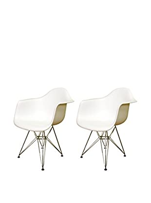 Baxton Studio Set of 2 Cettina Steel-Base Armchairs, White
