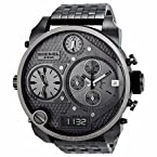 Diesel Badass Oversized Gray Dial Gunmetal Pvd Mens Watch Dz7247