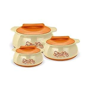 Milton Exotique Cream And Orange Casserole Set 3 Pieces (Capacity 500 ML;1000 ML;1500 ML)