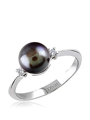 Divas Diamond Anillo Diamante Black Pearl (Plata)