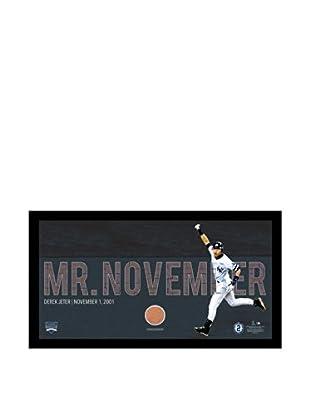 Steiner Sports Memorabilia Derek Jeter Moments: Framed Mr. November Mosaic Text Overlay with Game Dirt