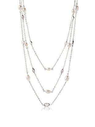 CZ by Kenneth Jay Lane CZ/Freshwater Pearl Triple Necklace