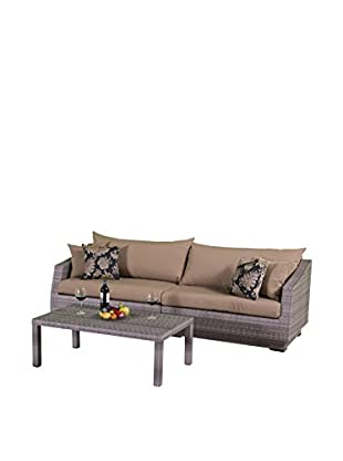 RST Brands Cannes 2-Piece Sofa & Coffee Table Set, Beige