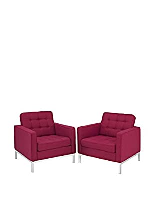 Modway Loft Set of 2 Wool Armchairs, Red Tweed