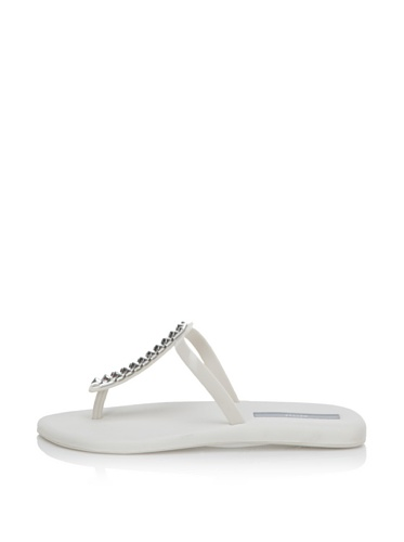 Melissa Women's Sin + Make a Wish Flat Thong Sandal (White)